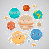 Cute planet (sticker) — Stock Vector
