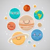 Niedlichen planeten (aufkleber) — Stockvektor