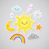 Cute weather (sticker) — Stock Vector