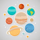 Sticker with planets — Stock Vector