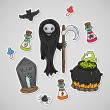 Sticker with dead Halloween - Stock Vector