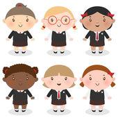 Multi-Ethnic schoolgirl — Stock Vector