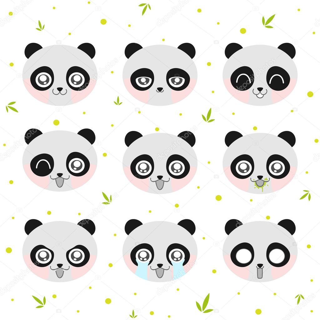 Kawaii smiley panda stock vector 169 nenochka 13243045