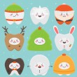 Christmas teeth — Vector de stock