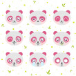 Kawaii smiley pink panda — Stock Vector