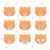 Kawaii smiley bear — Stock Vector