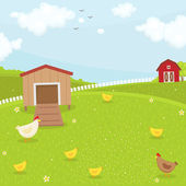 Farm chicken coop — Stock Vector