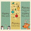 Christmas and new years vertical banners - Stock Vector