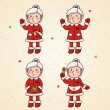 Stock Vector: Mrs Claus set