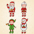 Christmas and new year characters - Stock Vector