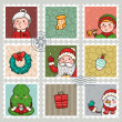 Christmas and new years stamps - Stock Vector