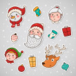 Christmas and new year sticky face - Stock Vector