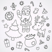Christmas and New Year doodles — Stock Vector