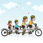 Family cycling — Stock Vector