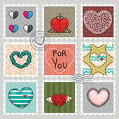 Stamps with hearts — Stock Vector