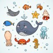 Cute sealife — Stock Vector