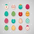 Sticker with Easter eggs - Stock Vector