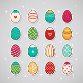 Sticker with Easter eggs — Stock Vector