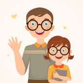 Clever father and daughter — Stock Vector