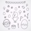 Stock Vector: Doodles with the Easter chick