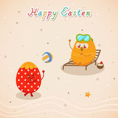 Happy holidays with Easter eggs — Stock Vector