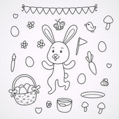 Doodles with the Easter Bunny — Stock Vector