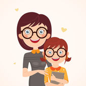 Clever mother and daughter — Stock Vector