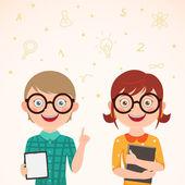 Liefde verhaal slim meisje en jongen — Stockvector