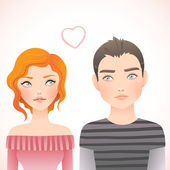 First love boy and girl — Stock Vector