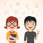Liefde verhaal slim meisje en jongen rocker — Stockvector