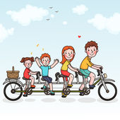 Family tandem bicycle — Stock Vector