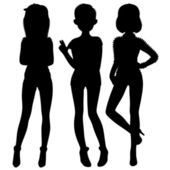 Three fashionable rnb silhouette — Stock Vector