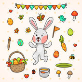 Happy Easter with bunny — Stock Vector