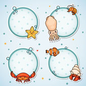 Labels with sea animals — Stock Vector