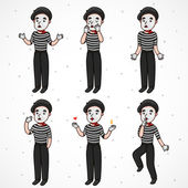 Mime sad collection — Stock Vector