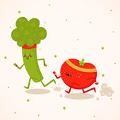 Broccoli vs tomato — Stock Vector