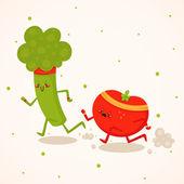 Broccoli vs tomato — Stock Vector