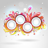 Abstract floral banner yellow pink — Stock Vector