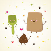 Cute turd and friends — Stock Vector