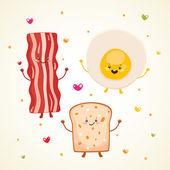 Cute breakfast bacon, fried egg, toast — Stock Vector
