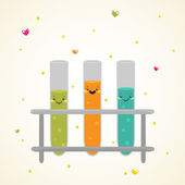 Cute Laboratory glass test tubes — Stock Vector