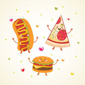 Cute fast food. Burger, Hot dog and Pizza — Stock Vector