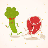 Broccoli vs meat — Stock Vector