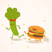 Broccoli vs burger — Stock Vector