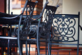Decorations, wrought iron furniture — Stock Photo