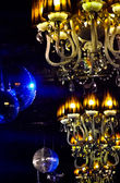 Mystical interior with chandelier lights and reflections — Foto Stock