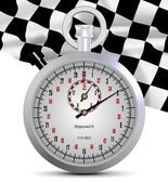 Stopwatch and finish flag — Stock Photo