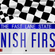 Stock Photo: Finish first number plates