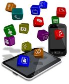 Phone tablet apps — Stock Photo