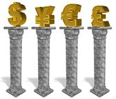 Currency on column — Stock Photo